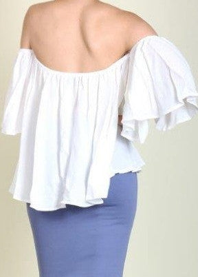 Off Shoulder Draped White Top