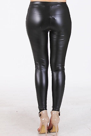Zip Up Faux Leather Leggings