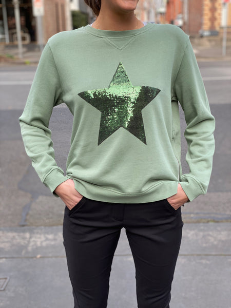 Sequin Star Sweat Khaki