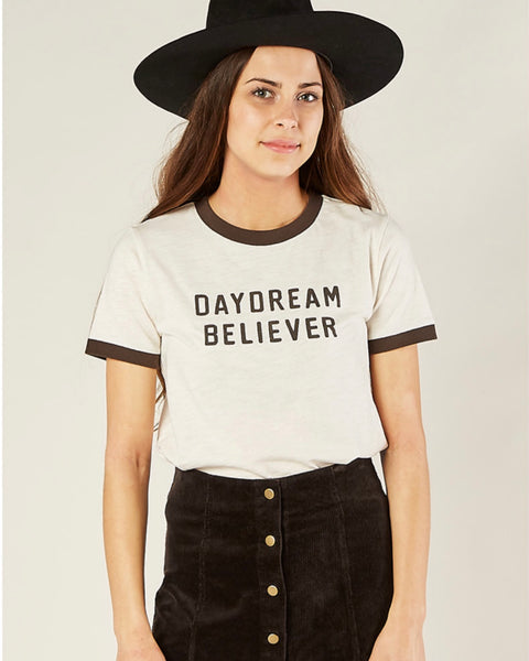 Daydream Beliver Ringer Tee by Rylee & Cru