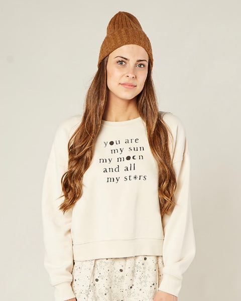 Boxy Pullover Sweatshirt in Natural by Rylee & Cru