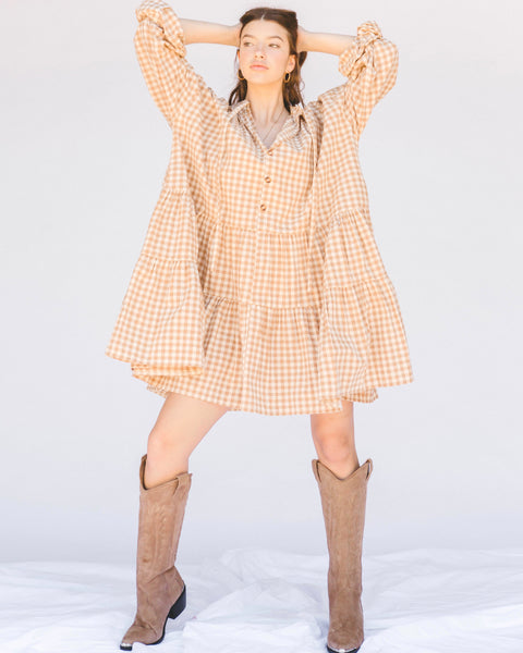 Avalon Smock Dress - CARAMEL GINGHAM