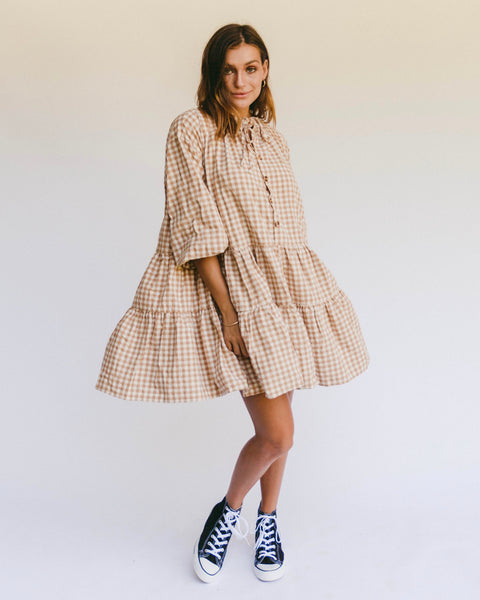 Avalon Smock Dress - CARAMEL GINGHAM - SIZES BACK SOON!