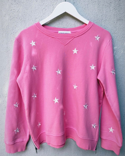 ZIP SWEATSHIRT – PINK EMBROIDERY STAR