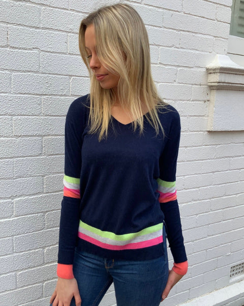 Rainbow Spring Knit - Navy