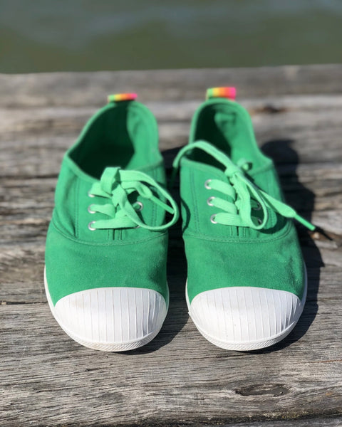 Washed Green Canvas Sneaker by Hammill & Co