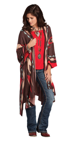 Rancho Estancia Aztec Print Shawl for Women, Brown Poncho
