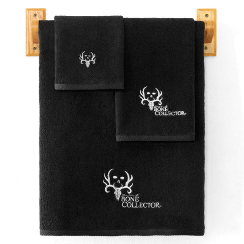 Bone Collector Towel and Shower Curtain Set - Black