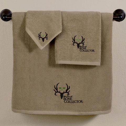 Bone Collector Towel and Shower Curtain Set - Tan