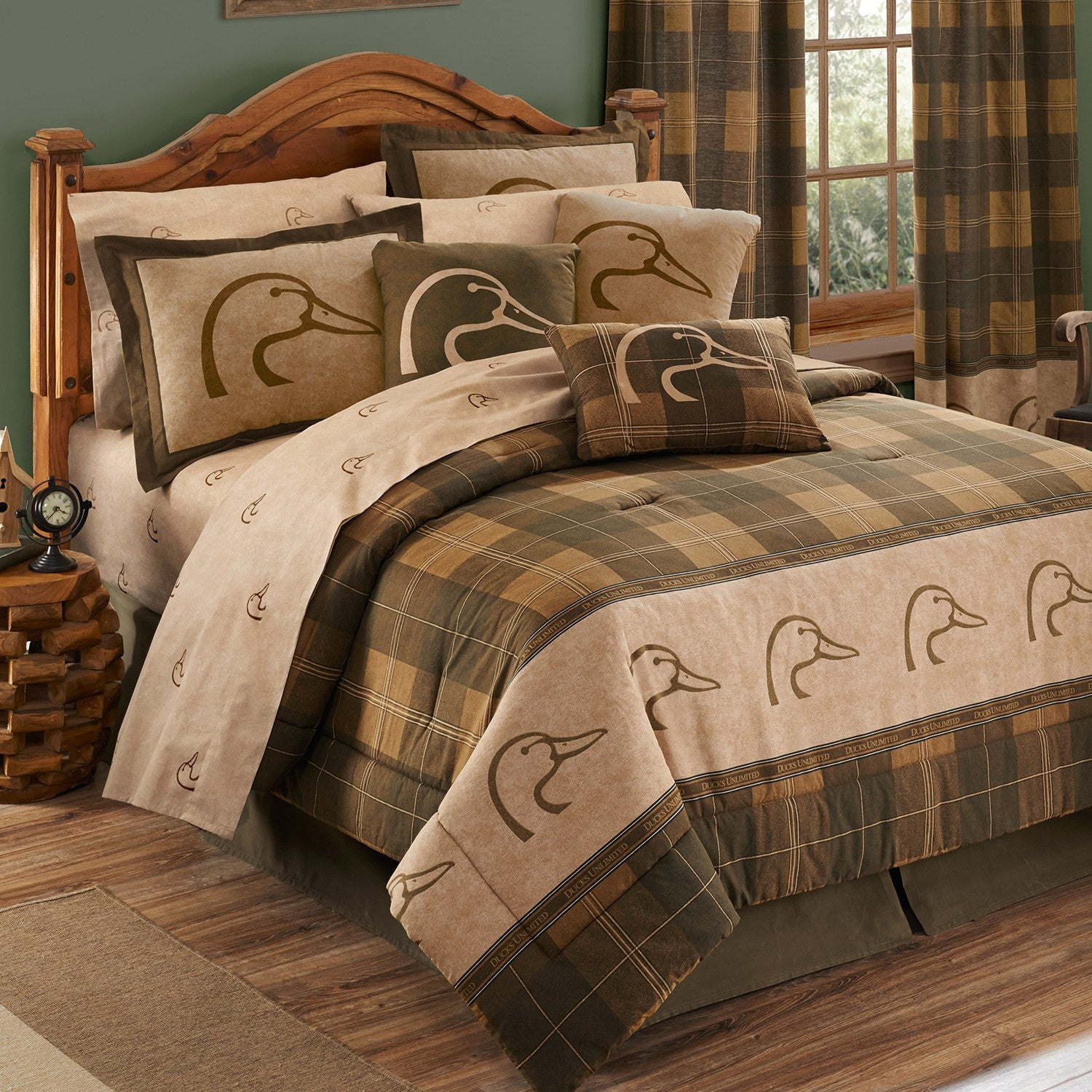 Ducks Unlimited Comforter Sham Bedding Set Plaid Full