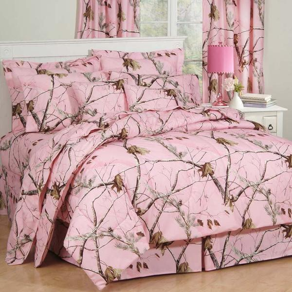 Realtree Pink Camo Comforter Bedding + Optional Matching Sheets - Full/Regular Size