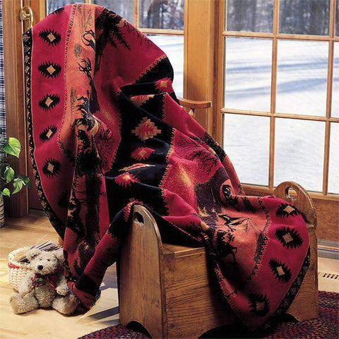 Denali Reversible Throw Blanket, Red Running Horses, 50 by 60-Inch, Made in USA