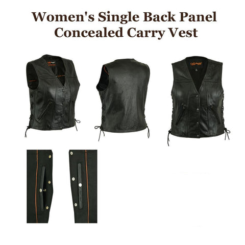 Womens Motorcycle Side Lace Black Leather CCW Vest, Snap Front