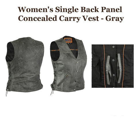 Womens Motorcycle Genuine Premium Leather CCW Vest, Gray