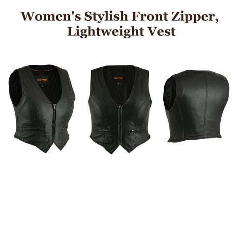 Womens Motorcycle Front-Zip Lightweight Leather Vest Concealed Carry