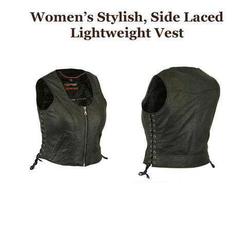 Womens MC Motorcycle Stylish Side Lace Lightweight Leather Vest