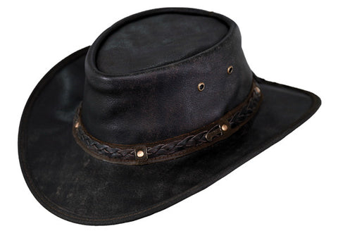 Outback Trading Company Leather Hat - Iron Bark Packable