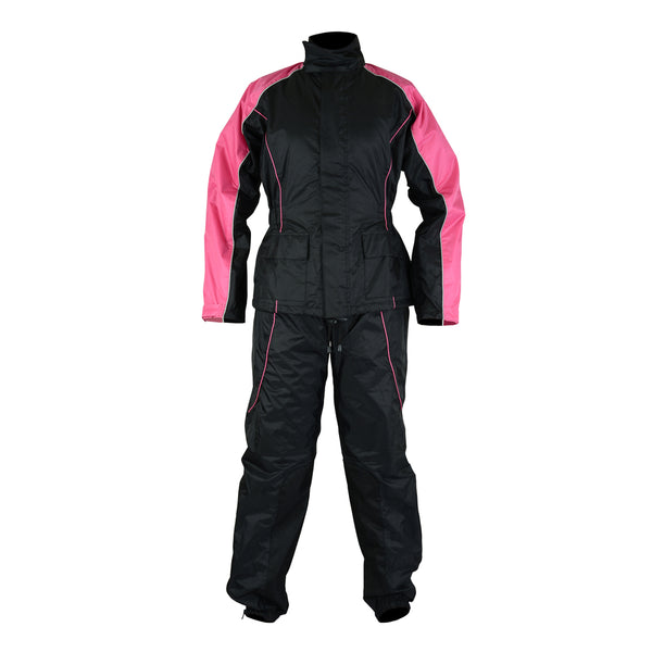 Motorcyle Rain Suit for Women 2-Piece Pink/Black