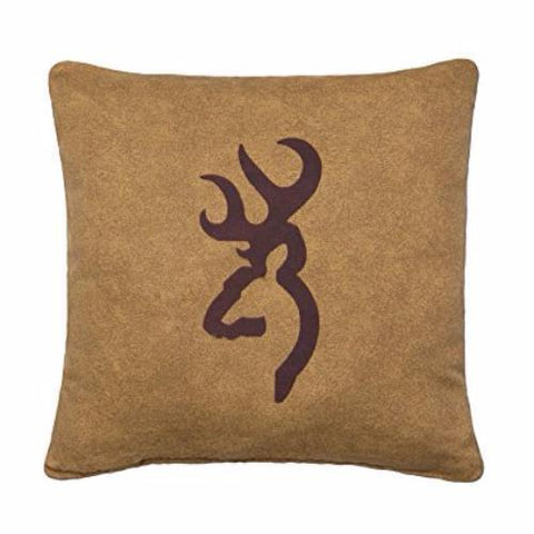 Browning Buckmark Tan Decorative Square Throw Pillow