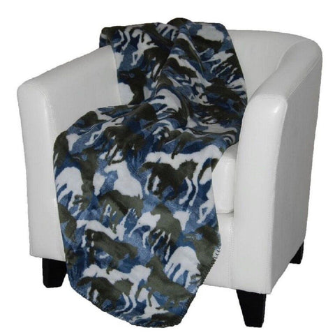 Horses Theme-o-flage Camo Luxury Fleece Reversible Throw Blanket, 50 x 60 inches
