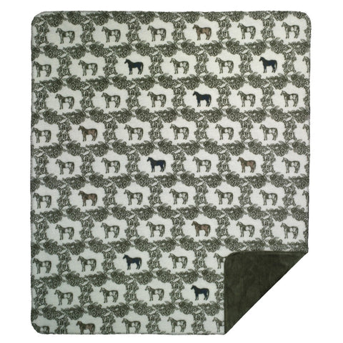 'Horses of Course' Luxury Reversible Micro Fleece Throw Blanket, 50 x 60