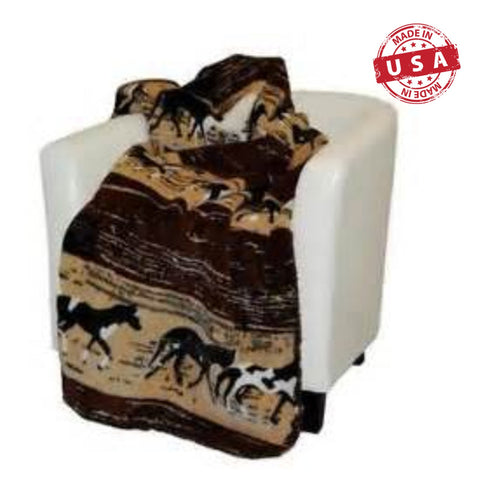 Denali Western Horses Luxury Micro Plush Reversible Throw Blanket, 50 x 60 in