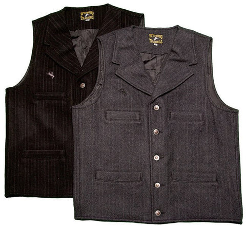 Wyoming Traders Western Banker's Wool Vest for Men (Black, Charcoal)