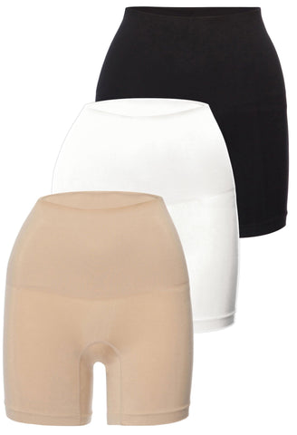 mid rise postpartum shaping shorts in neutral colours provides maximum tummy support and control mid waist fit cinches in your waist seamless stretchy fit super comfy and soft save on your purchase with this three pack