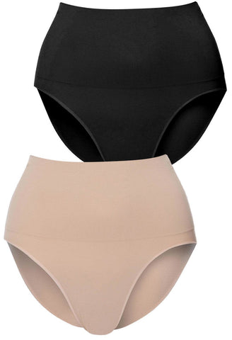 mid rise postpartum shaping brief in nude neutral colour provides maximum tummy support and control mid waist fit cinches in your waist seamless super comfy and soft in a 2 pack