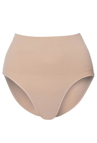 mid rise postpartum shaping brief in nude neutral colour provides maximum tummy support and control mid waist fit cinches in your waist seamless super comfy and soft