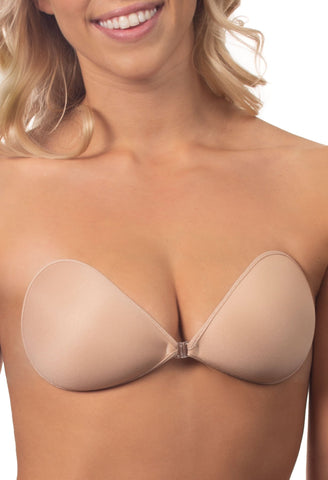 Model wears nude sleek stick on bra