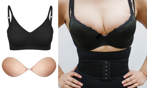 Sleek Fabric Stick On Bra with underwire bra for pushup effect
