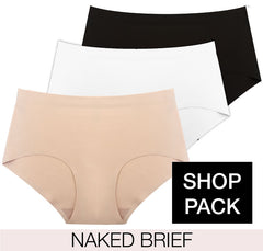 Naked Brief 3 pack in black, white and nude