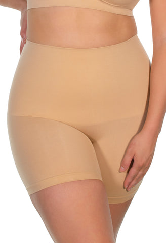 mid rise postpartum shaping shorts in nude provides maximum tummy support and control mid waist fit cinches in your waist seamless super comfy and soft also available in black white