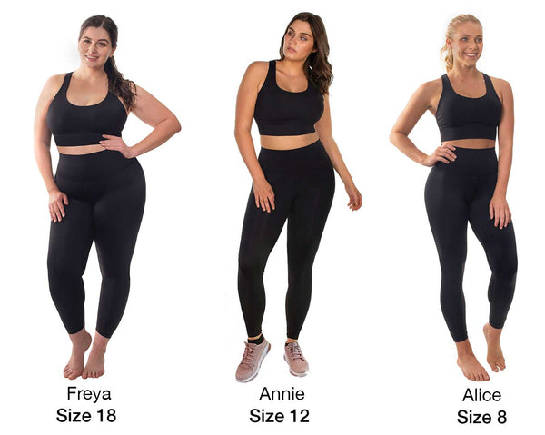 Black high waisted sports leggings on different size models