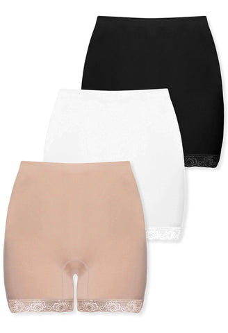High Rise Cotton Thermal Petite Shorts - Neutrals 3 Pack