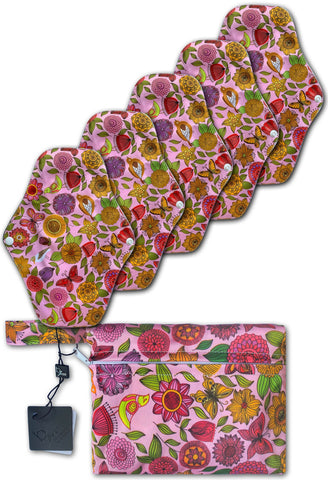 Reusable Stay-Dry Leakage & Period Pads - Pink Floral 5 Pack