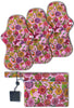 Reusable Stay-Dry Overnight Period Pads - Pink Floral 3 Pack