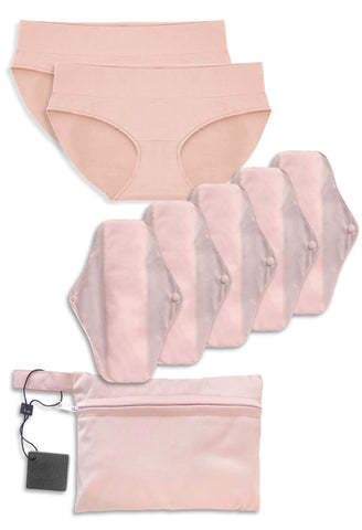 5 Pack Re-Usable Stay Dry Pads + 2 Pairs Seamless Bikini Starter Set