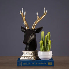 black tabletop deer figurine