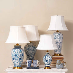 blue and white ceramic table lamps