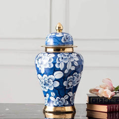 decor kart blue and white floral decorative jar