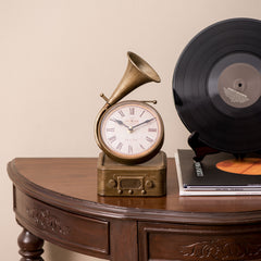 gramophone vintage table clock