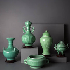green celadon decorative jars