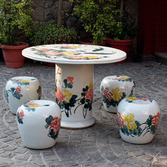 koi pond garden stool table 5 pieces set