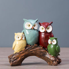 owl family animal figurines