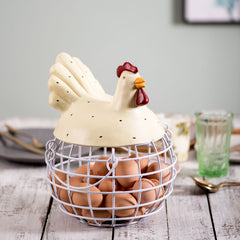white rooster egg basket
