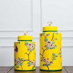 yellow ceramic decorative jar