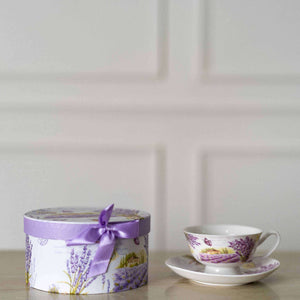 'Mauve Manor' Teacup and Saucer
