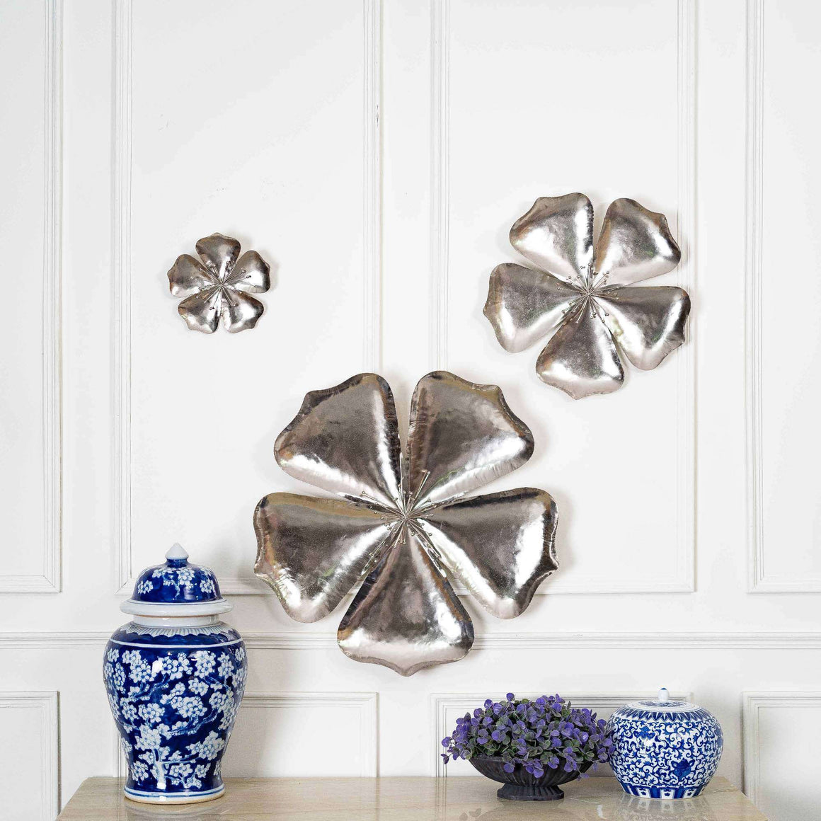 Silver Lining - Set of 3 Metal Floral Wall Sculptures